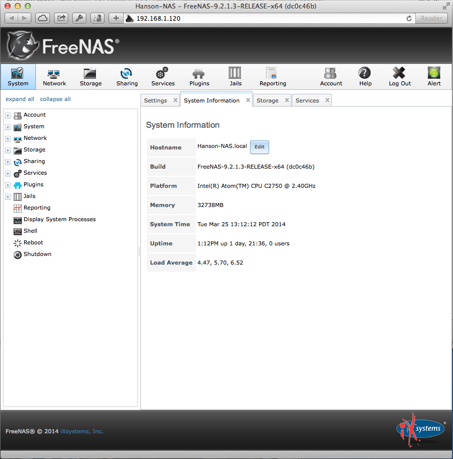 The Default FreeNAS Home Screen