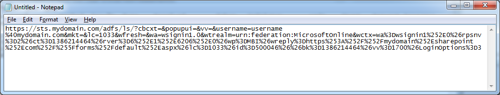 Office 365 - Federated URL - Cleaned - Notepad