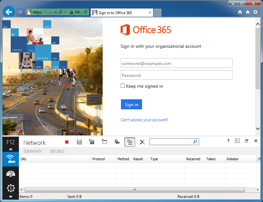 Sign into Office 365 - Developer Console - Network - Start Capture