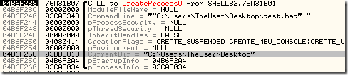 OllyDBG reveals the API call corresponding to a double click on the batch file from Explorer in non-elevated mode