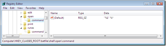 The command string used to run a batch file in normal, non-elevated, mode