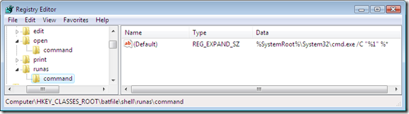 The command string used to run a batch file in elevated mode