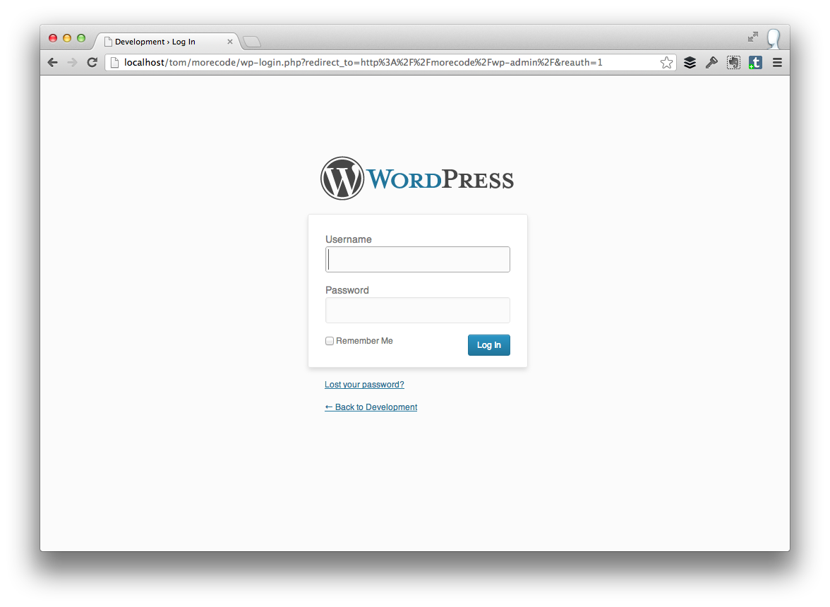 The WordPress Login Screen