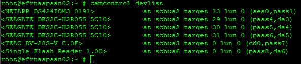 Output of camcontrol devlist command.